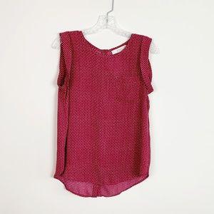 LOFT | button back sleeveless blouse red white S